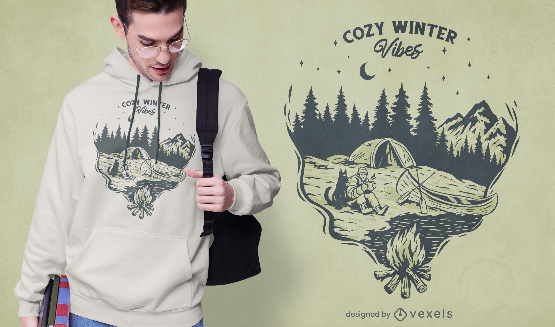 Diseño de camiseta de naturaleza de camping de invierno.