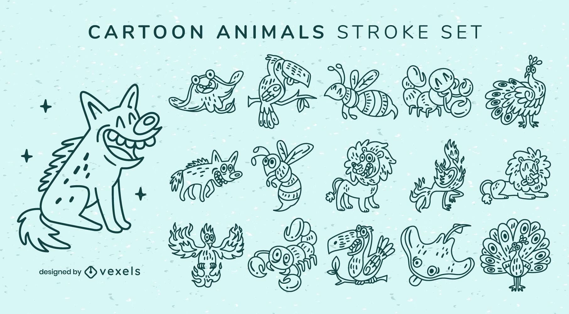 Animal cartoon set stroke