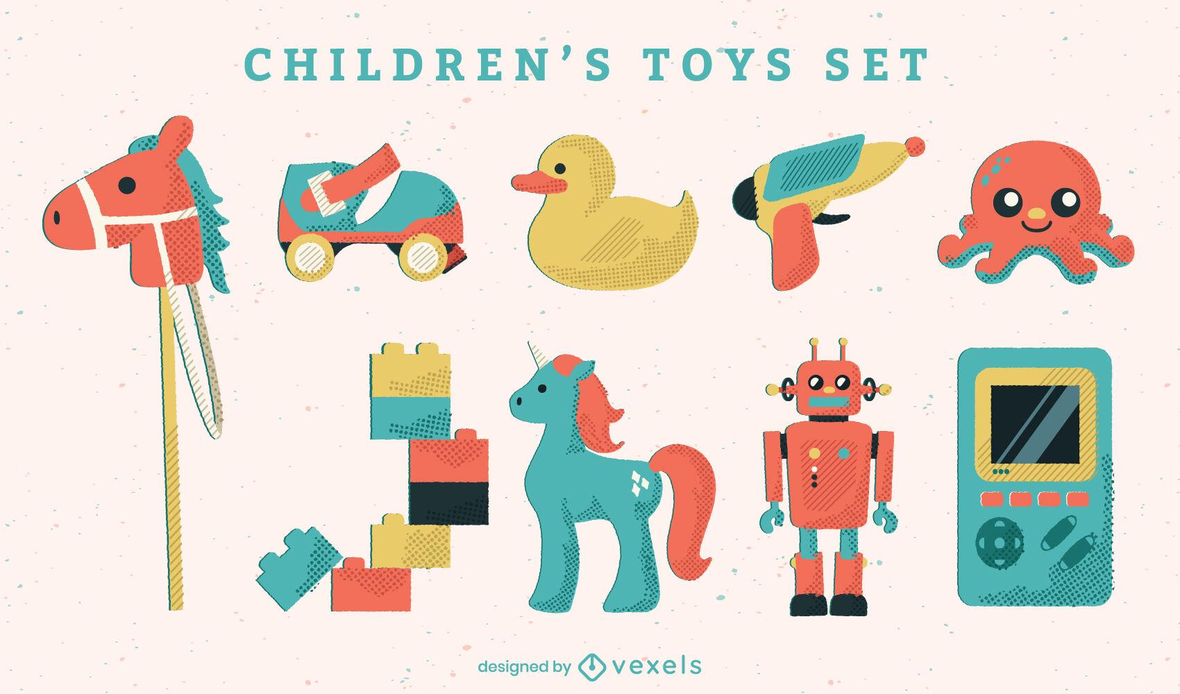 Conjunto semi plano de juguetes para niños.