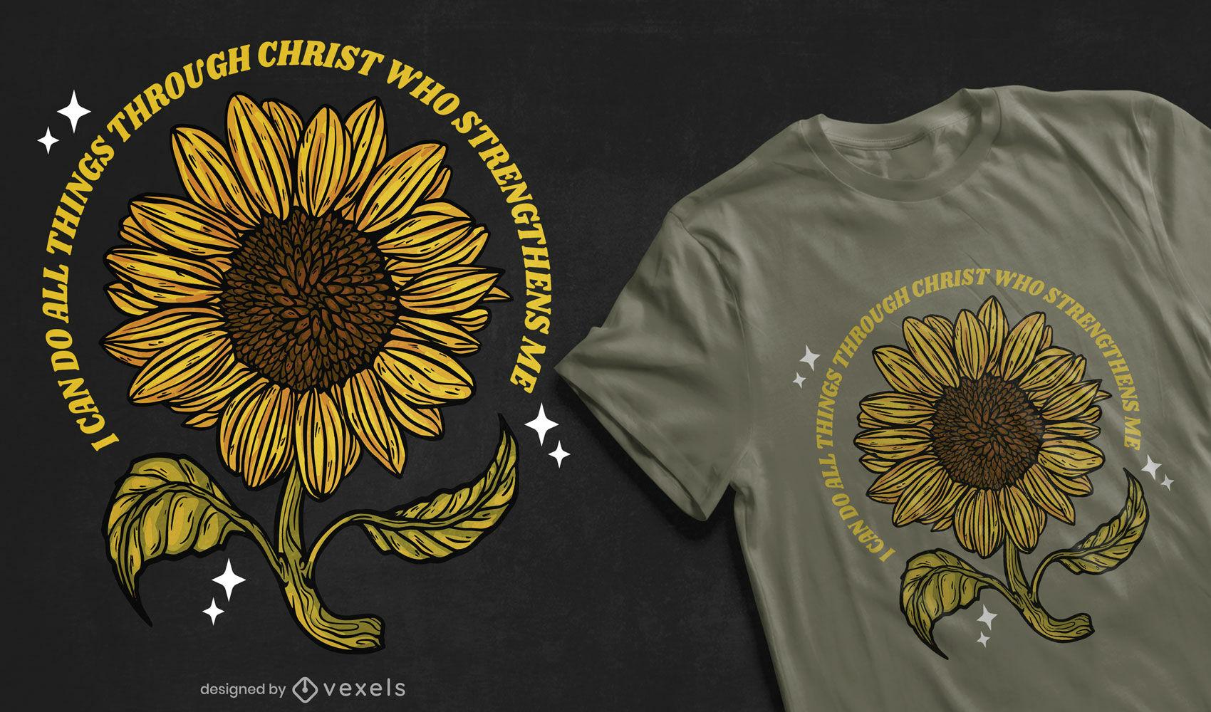 Diseño de camiseta de girasol con cita de cristo