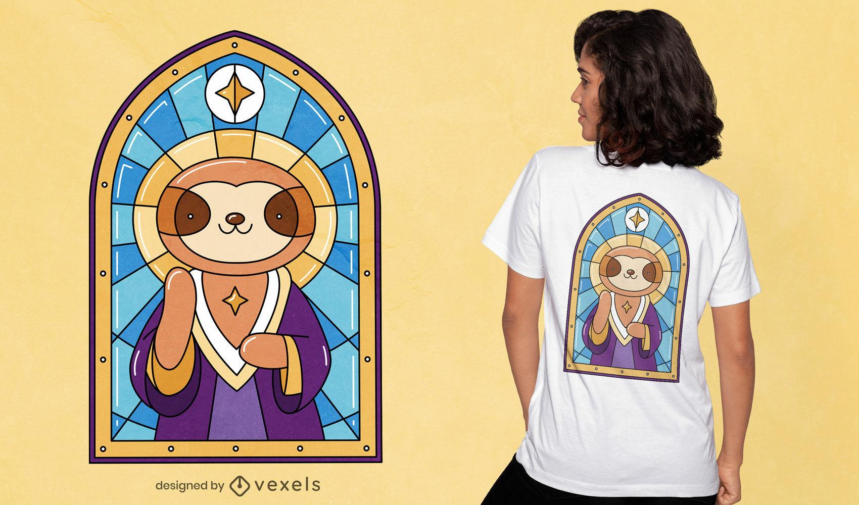 Design de camiseta com vitral de igreja da preguiça