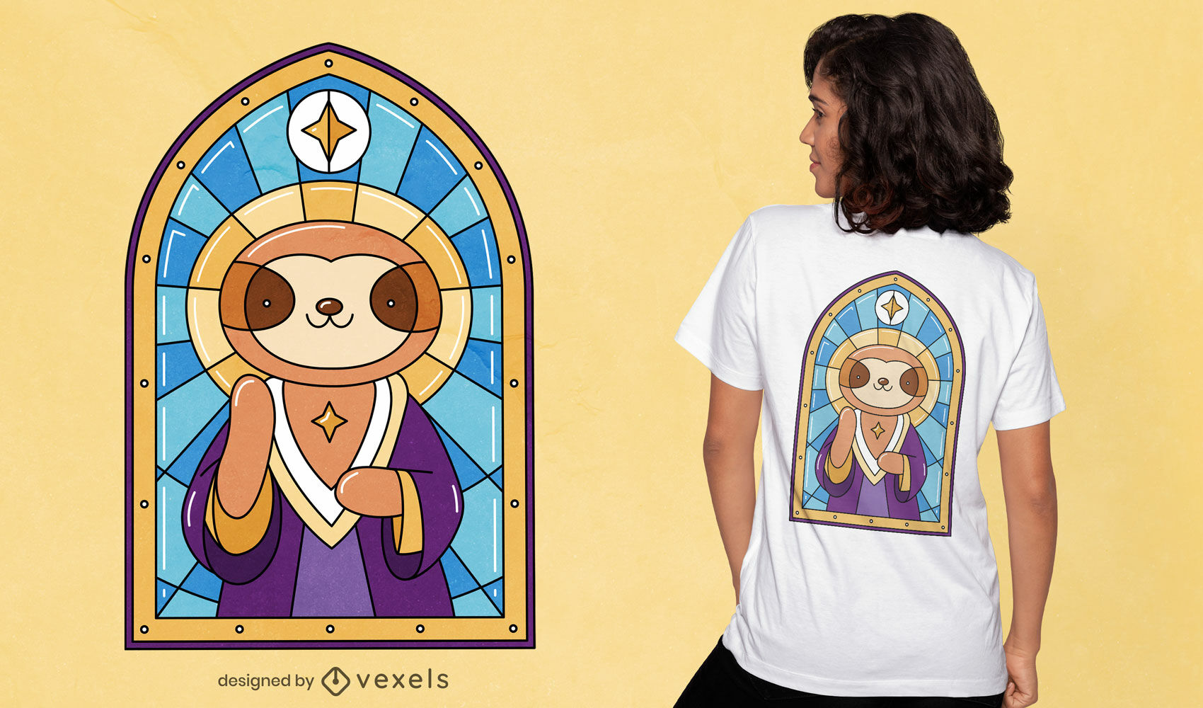 Faultier Kirche Buntglas T-Shirt Design