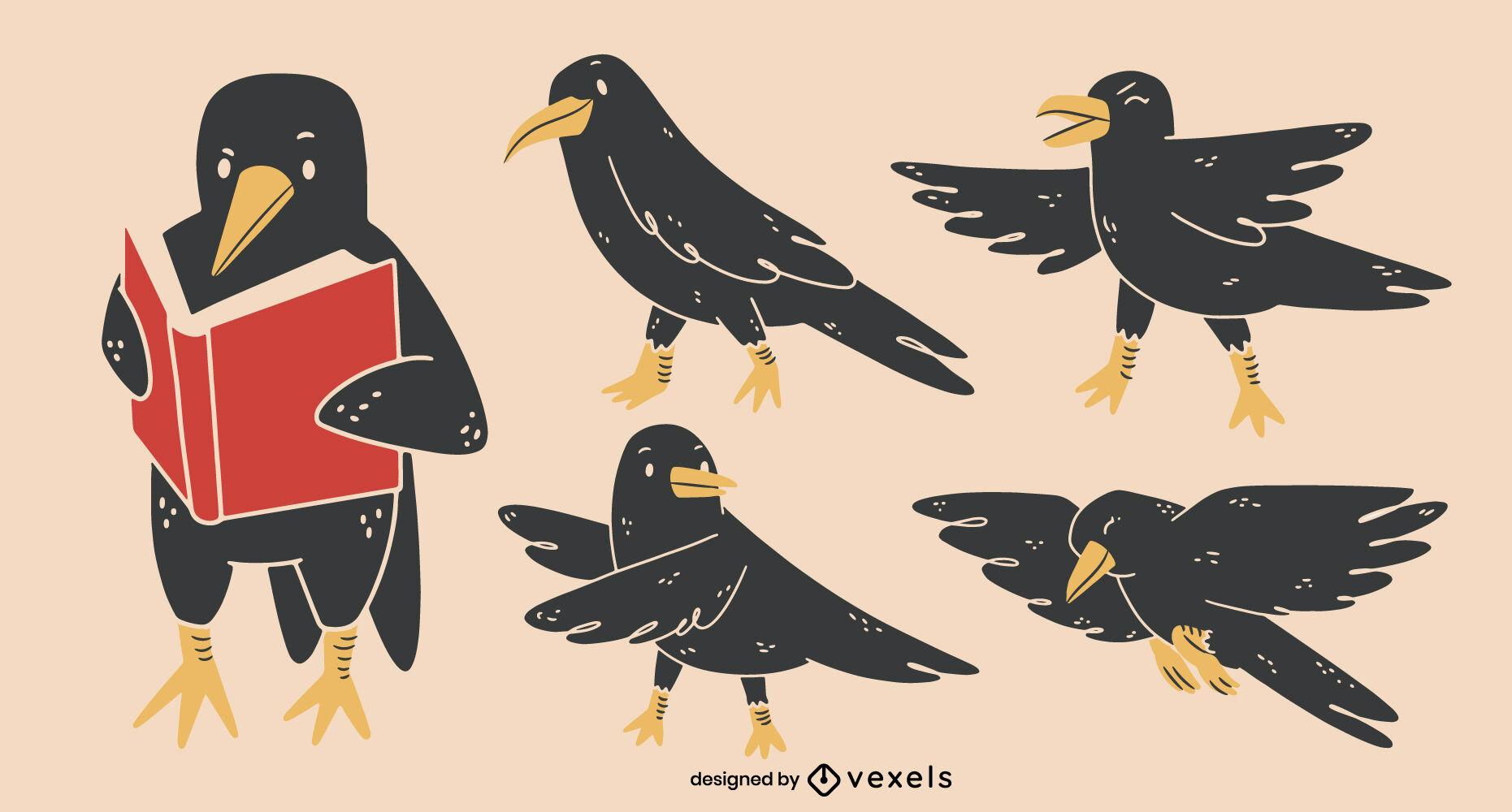 Conjunto de caracteres de pájaro cuervo de dibujos animados