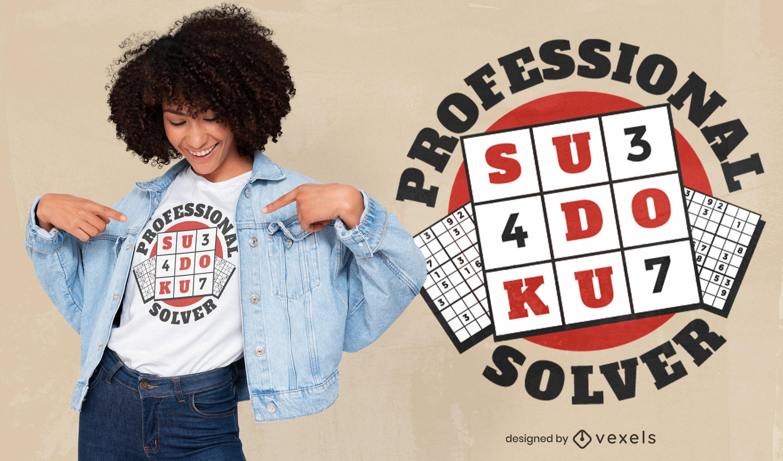 Diseño de camiseta con cita de insignia de sudoku hobby