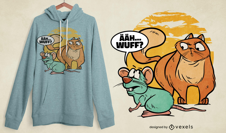 Diseño de camiseta con cita divertida de gato y ratón.