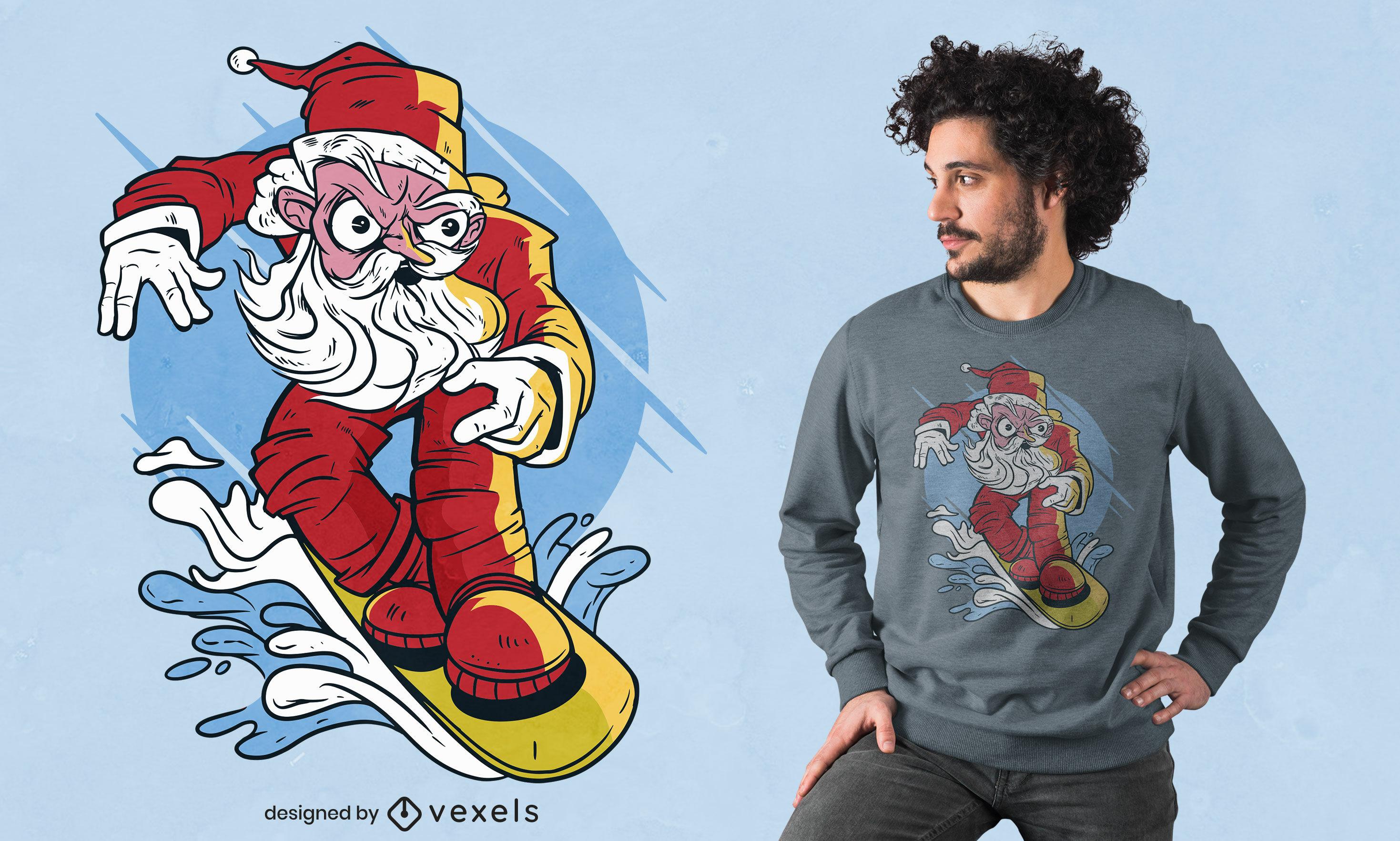 Design de t-shirt de snowboard do Pai Natal
