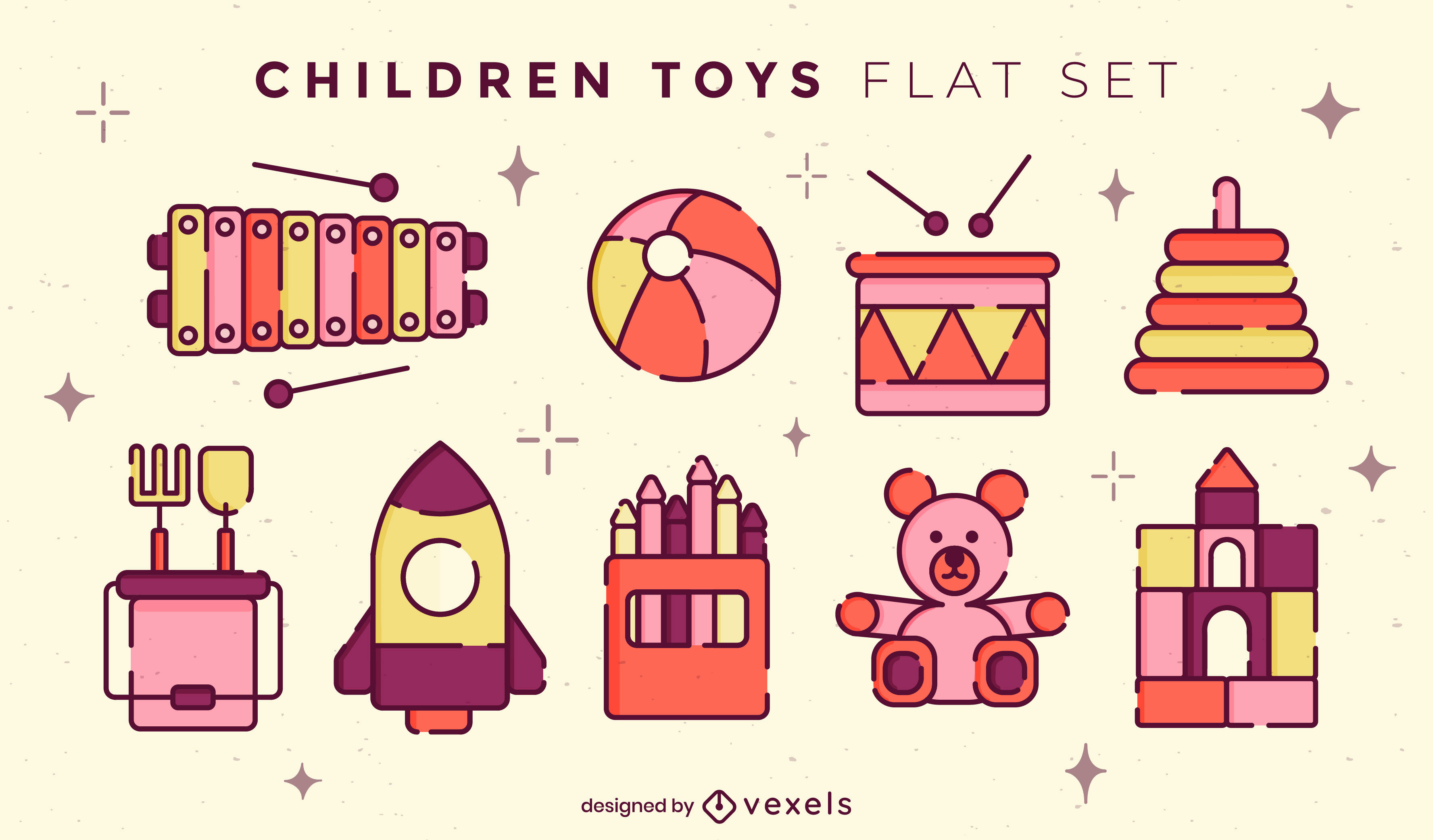 Conjunto de trazos de color de juguetes para niños