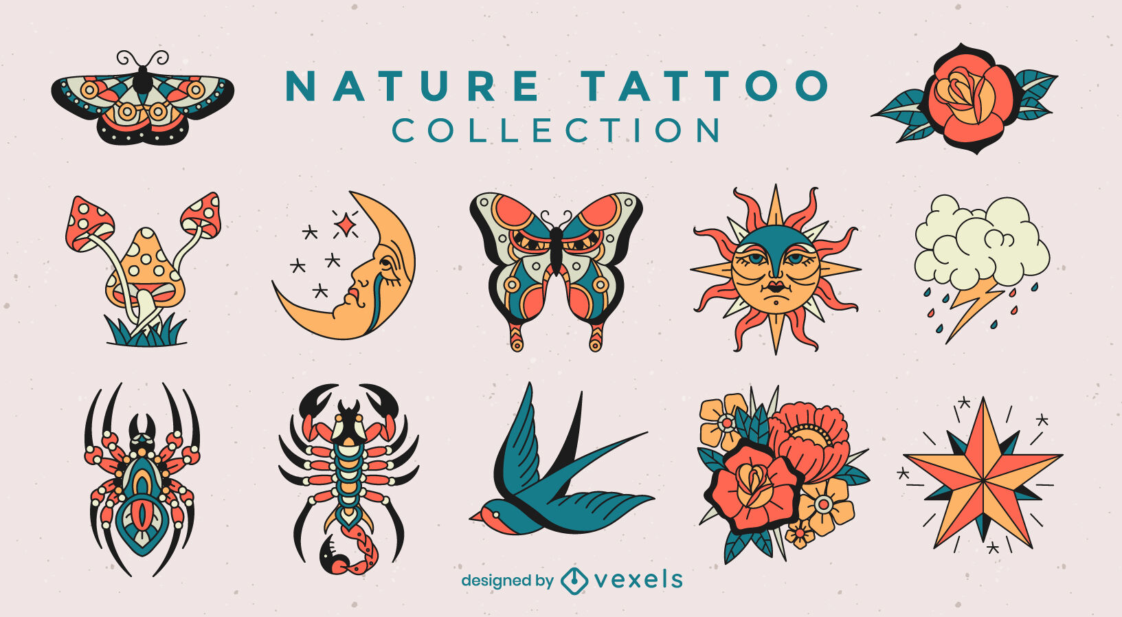 Nature elements set in tattoo style