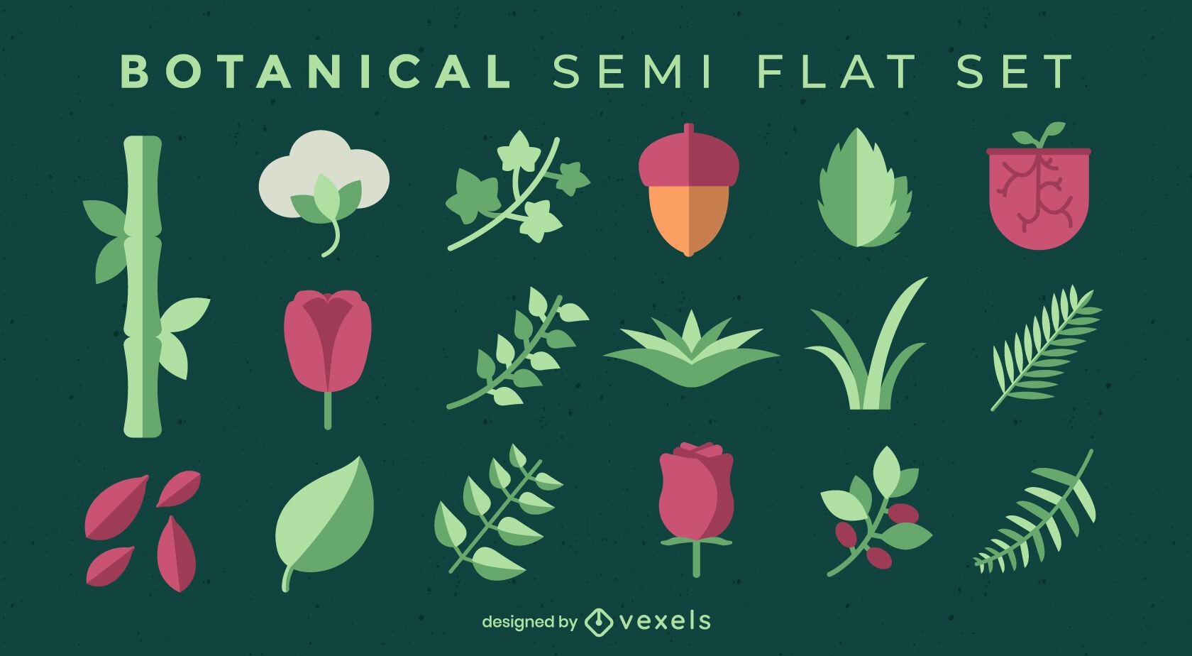 Nature elements set semi flat