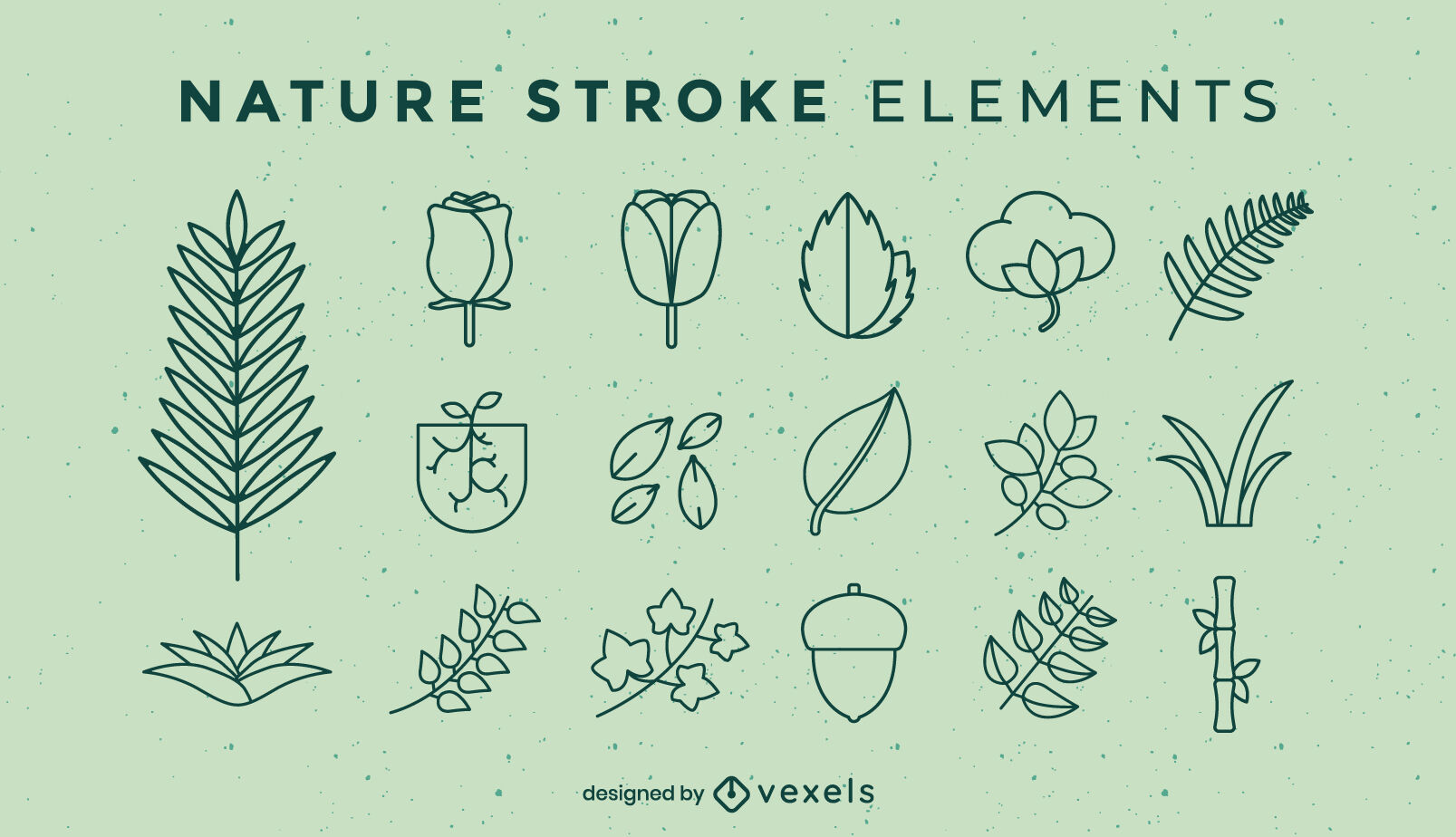 Nature elements set stroke