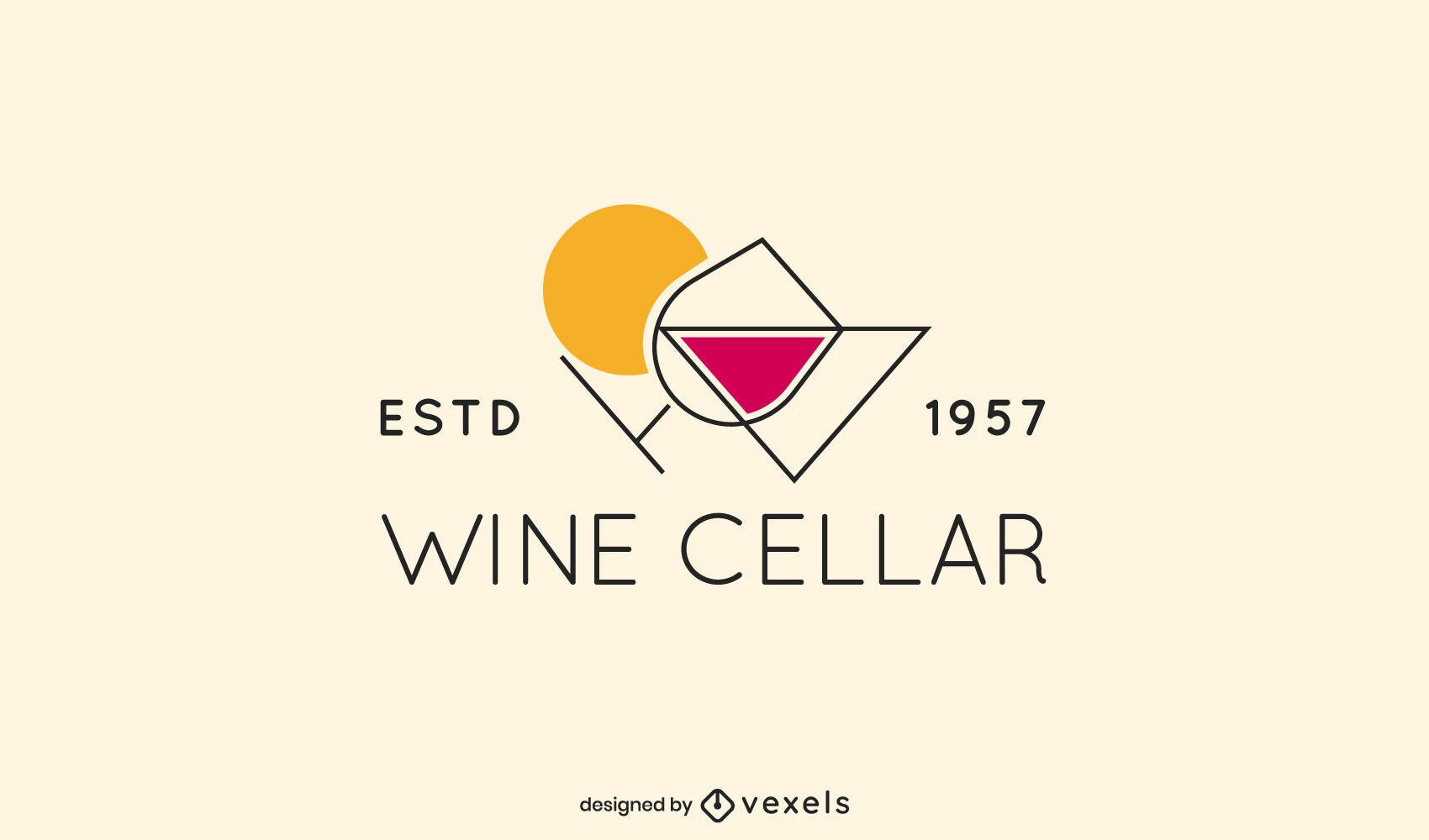 Modelo de logotipo geométrico de taça de vinho