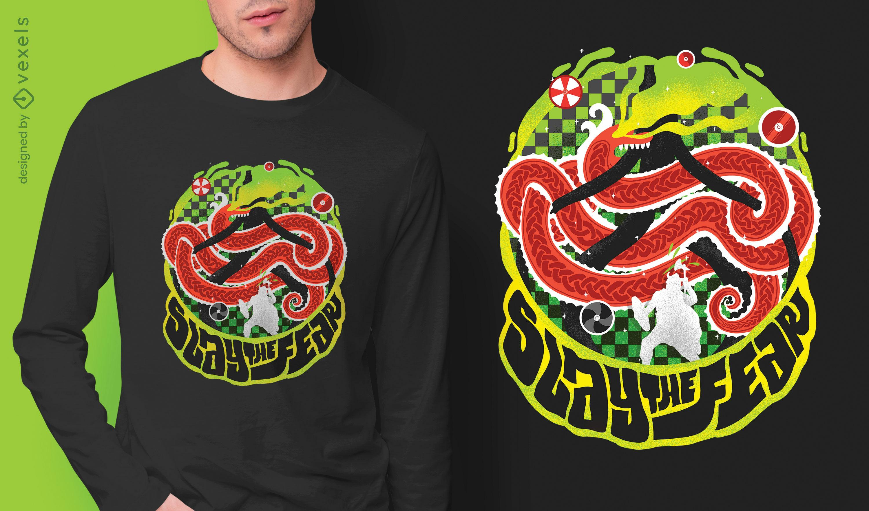 Slay the fear psd t-shirt design