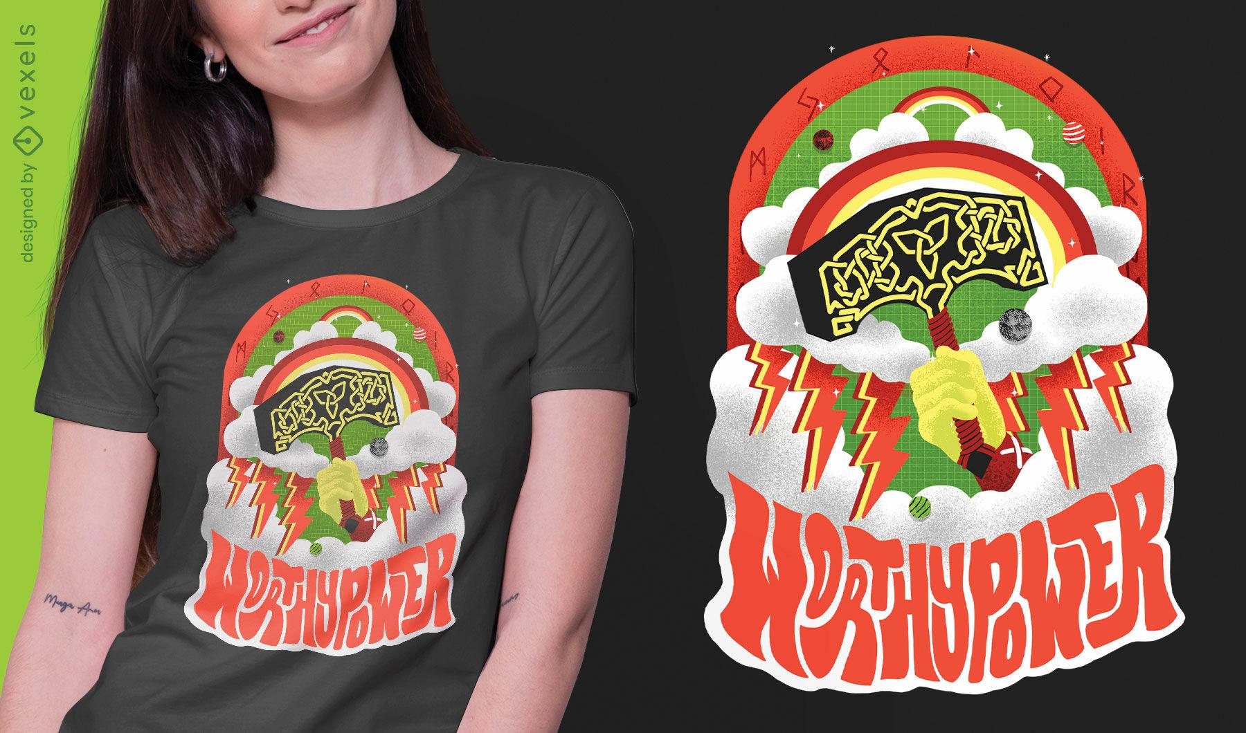 Worthy power viking trippy psd t-shirt design