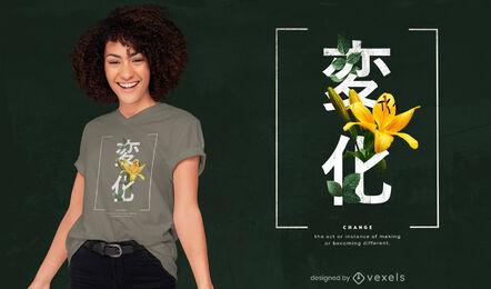 Kanjis japoneses con diseño de camiseta de flores psd
