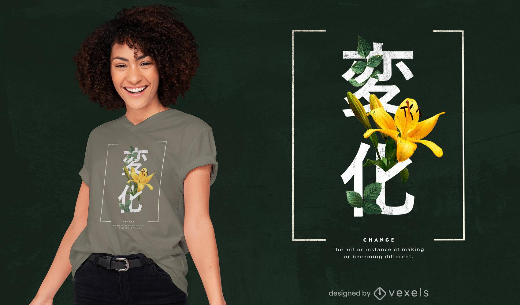 Japanische Kanjis mit Blumen-PSD-T-Shirt-Design
