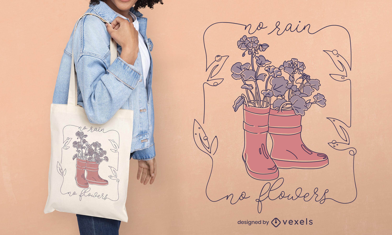 Diseño de bolso tote de línea continua con botas de lluvia