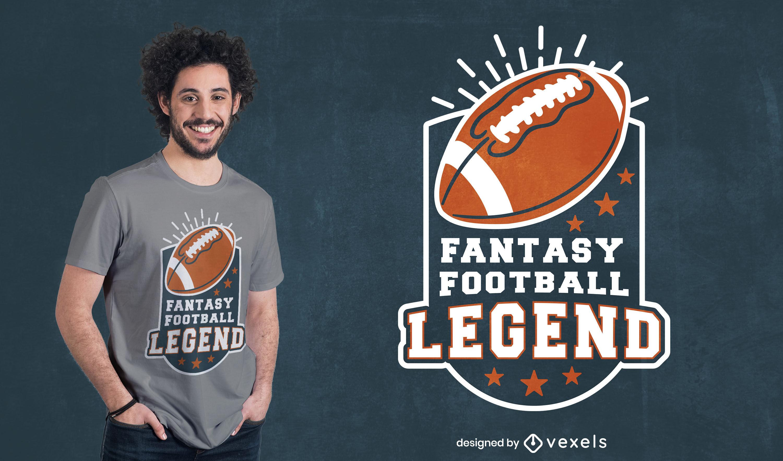 Design de camiseta com emblema de futebol americano