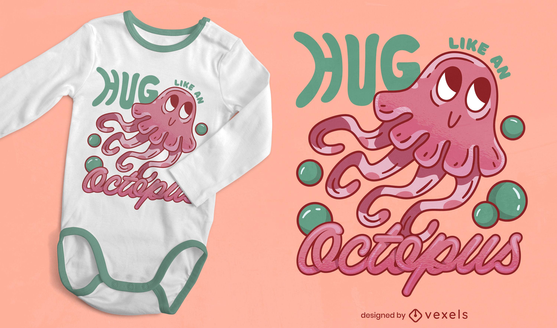 Diseño lindo de la camiseta del animal marino del pulpo