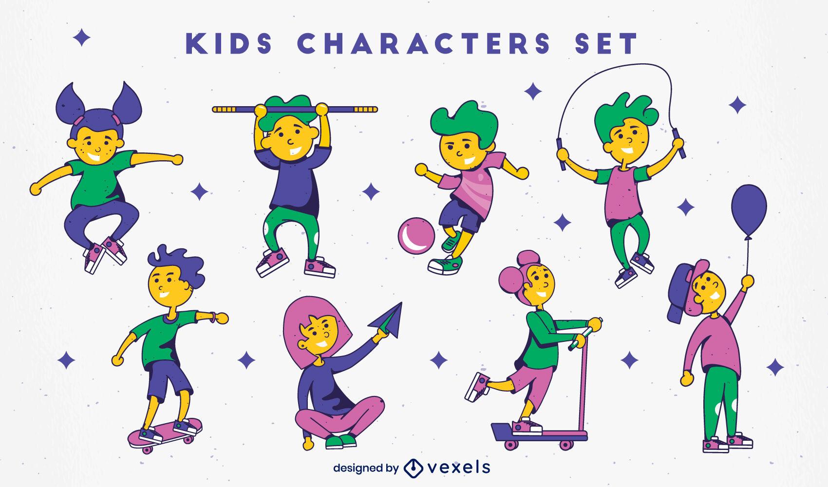 Kids characters color stroke set
