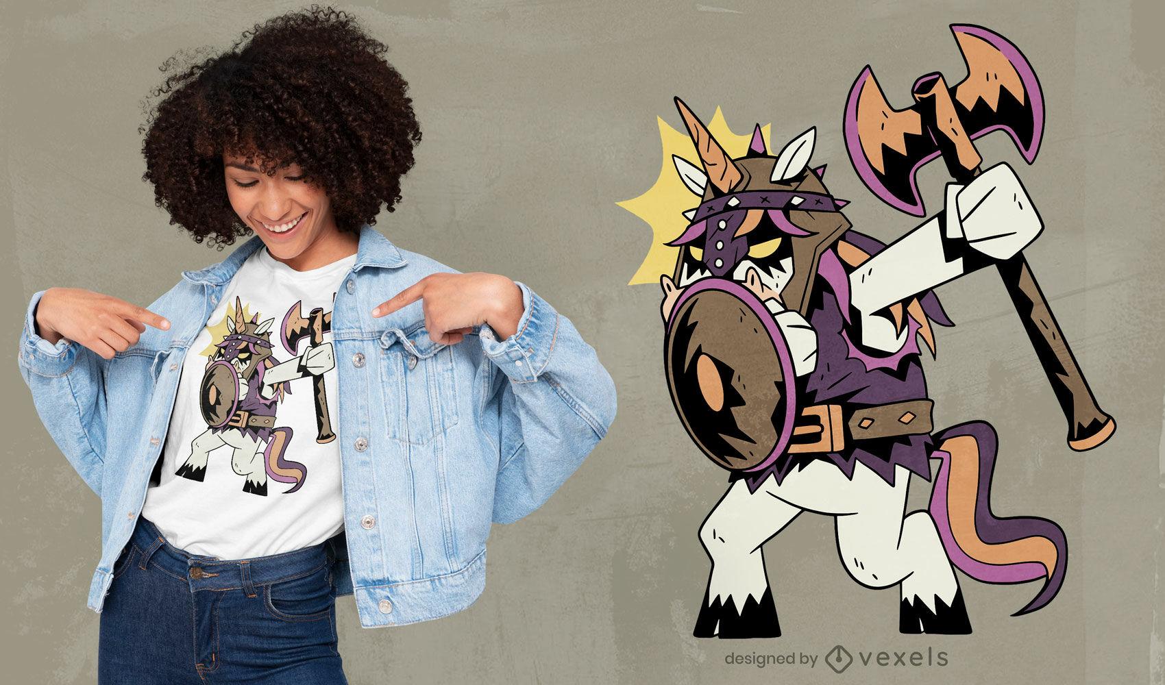 Diseño de camiseta de dibujos animados de unicornio vikingo