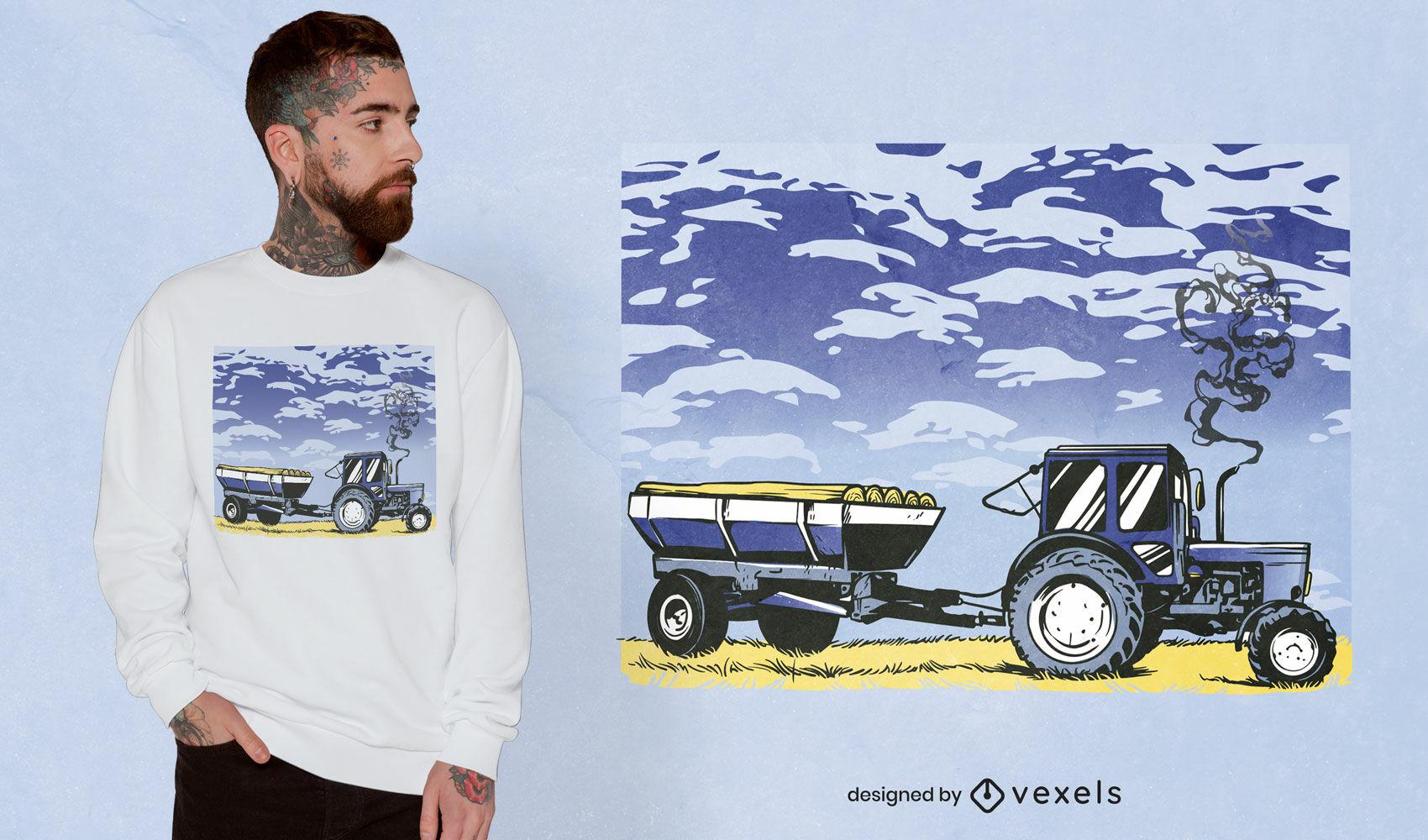 Traktor-Arbeitsfeld-T-Shirt-Design