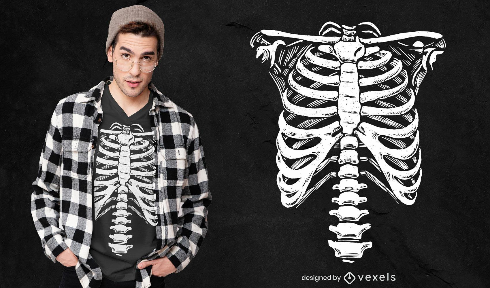 Skeleton ribcage costume t-shirt design