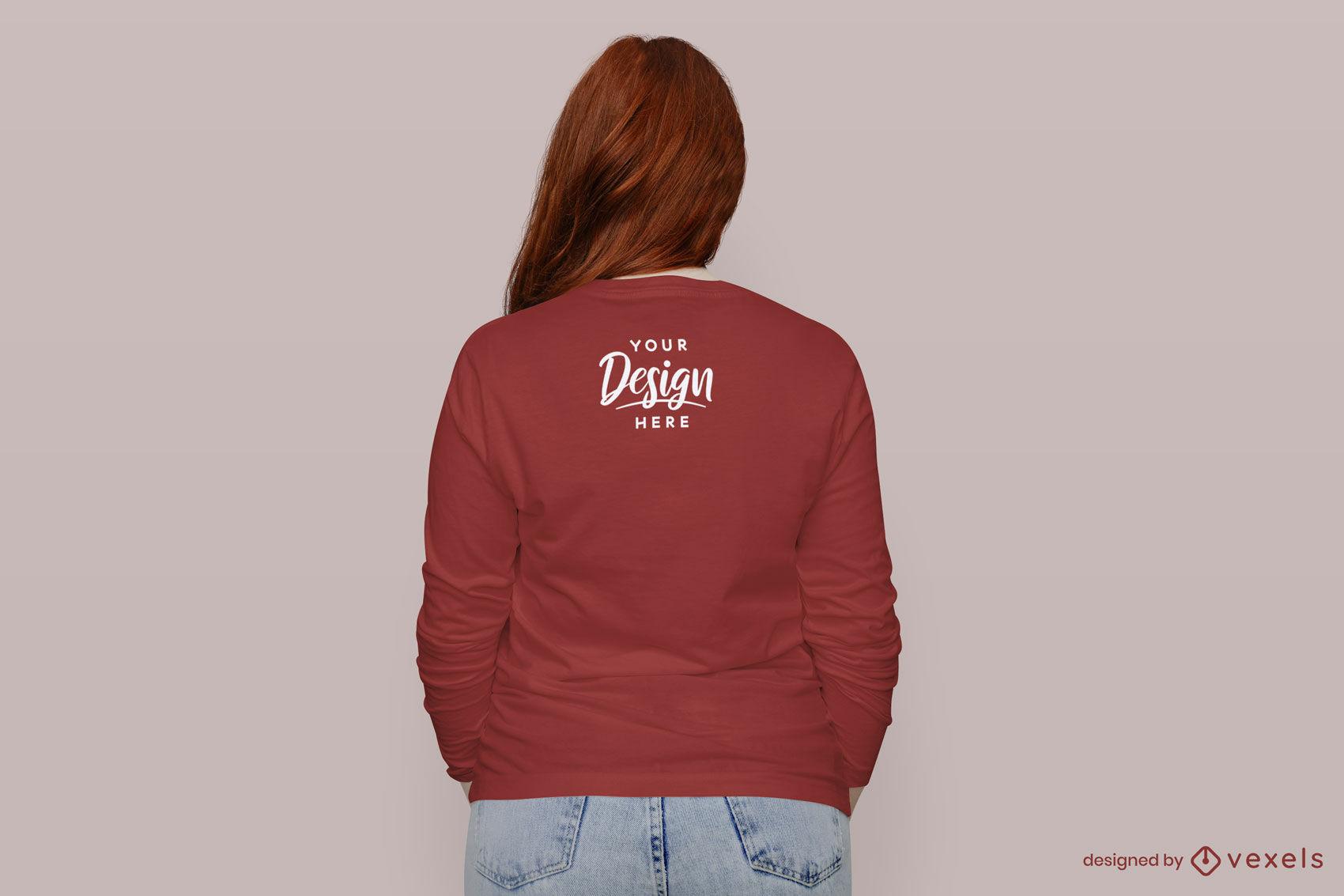Girl in red long sleeve t-shirt back mockup