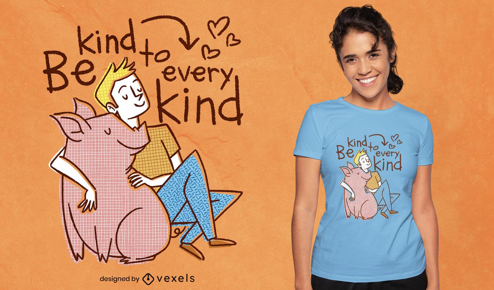 Hombre con cerdo cita diseño de camiseta psd