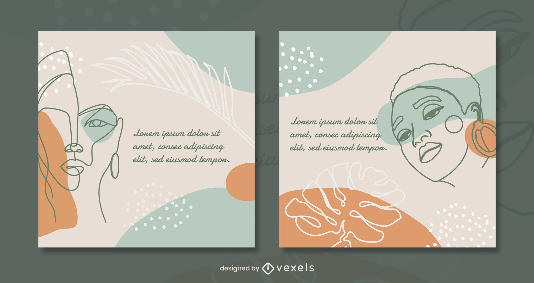 Continuous lines nature elements post template