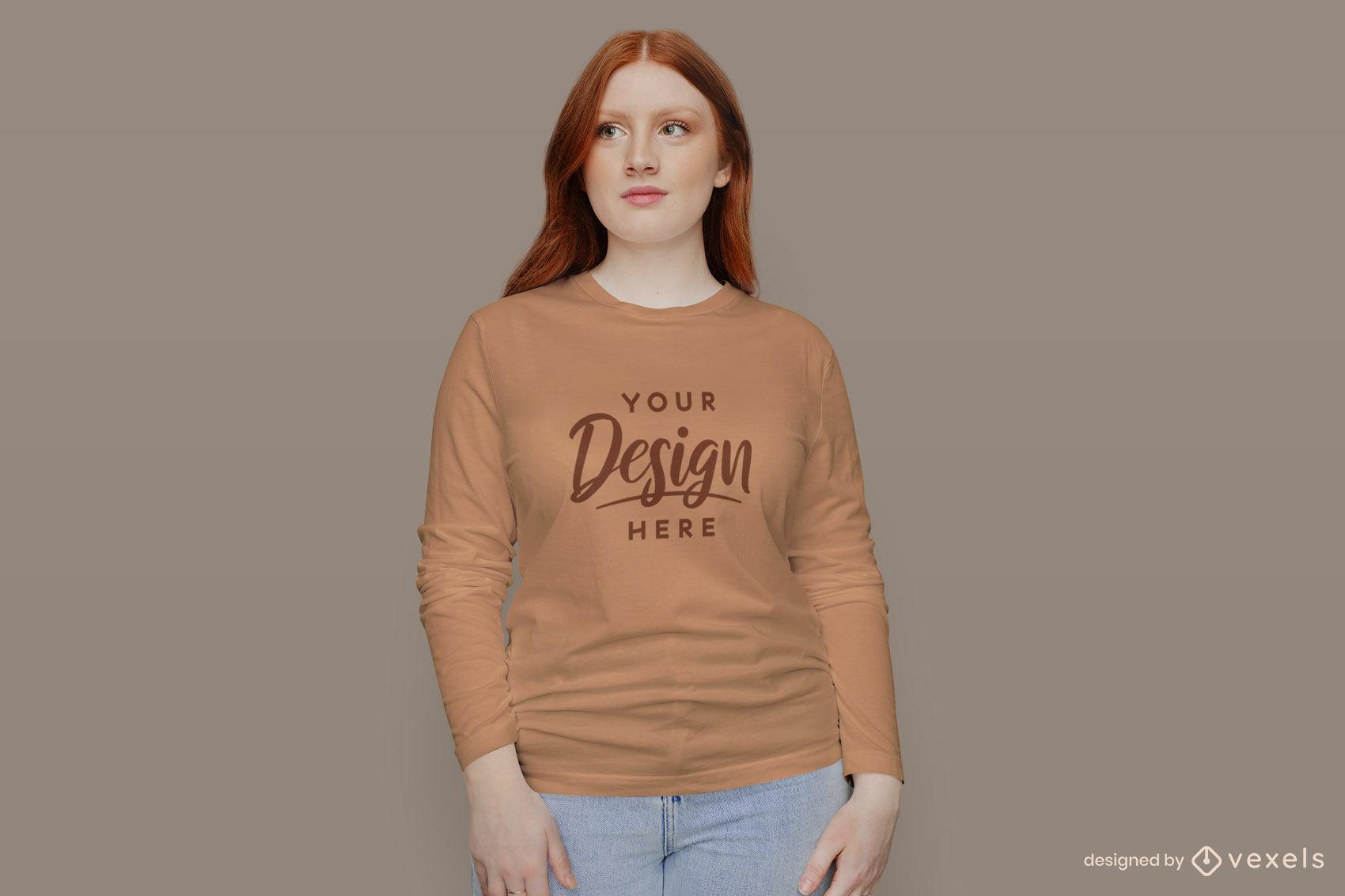 Girl in orange long sleeve t-shirt mockup