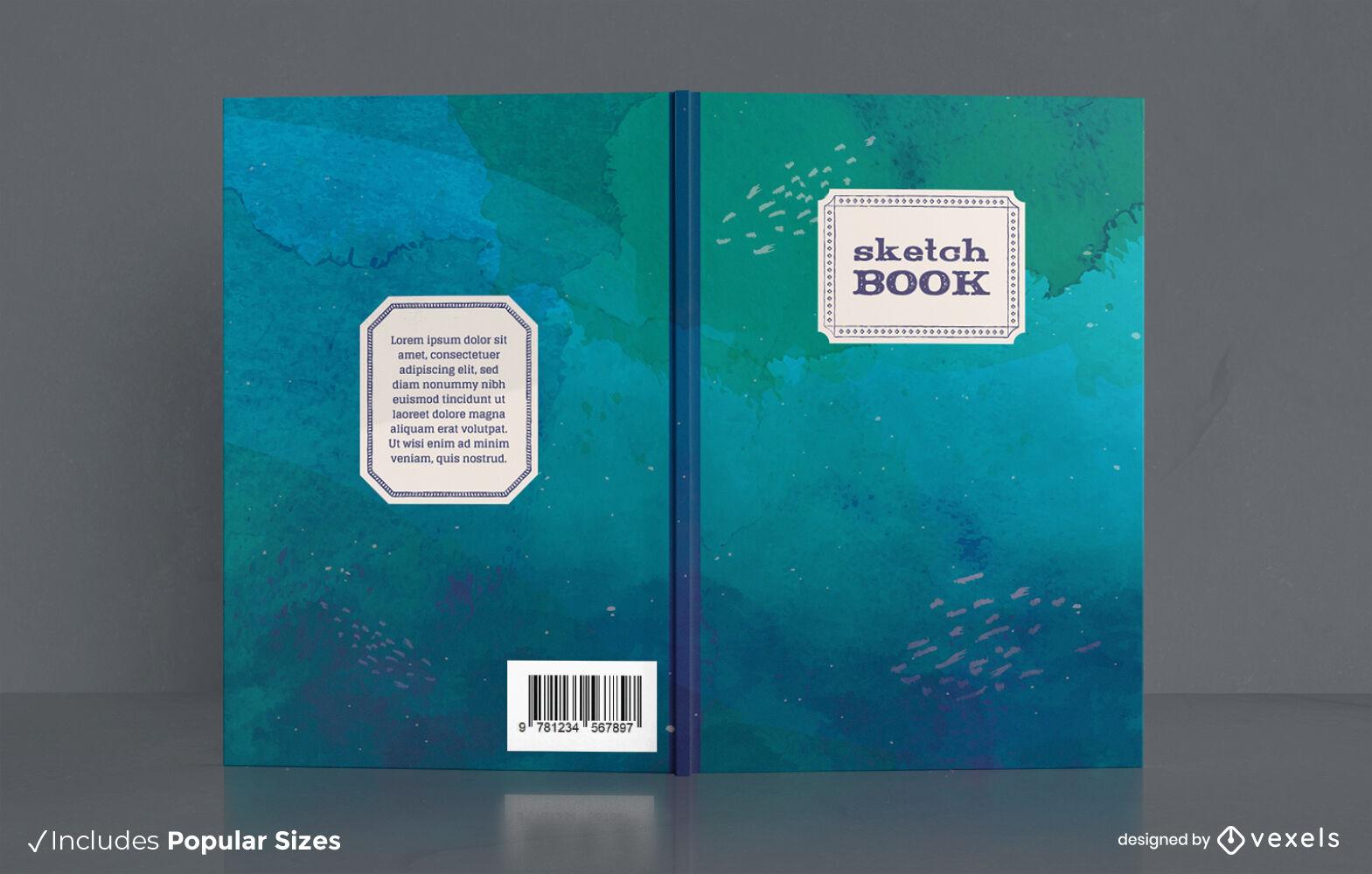 Boceto diseño de portada de libro de acuarela de océano