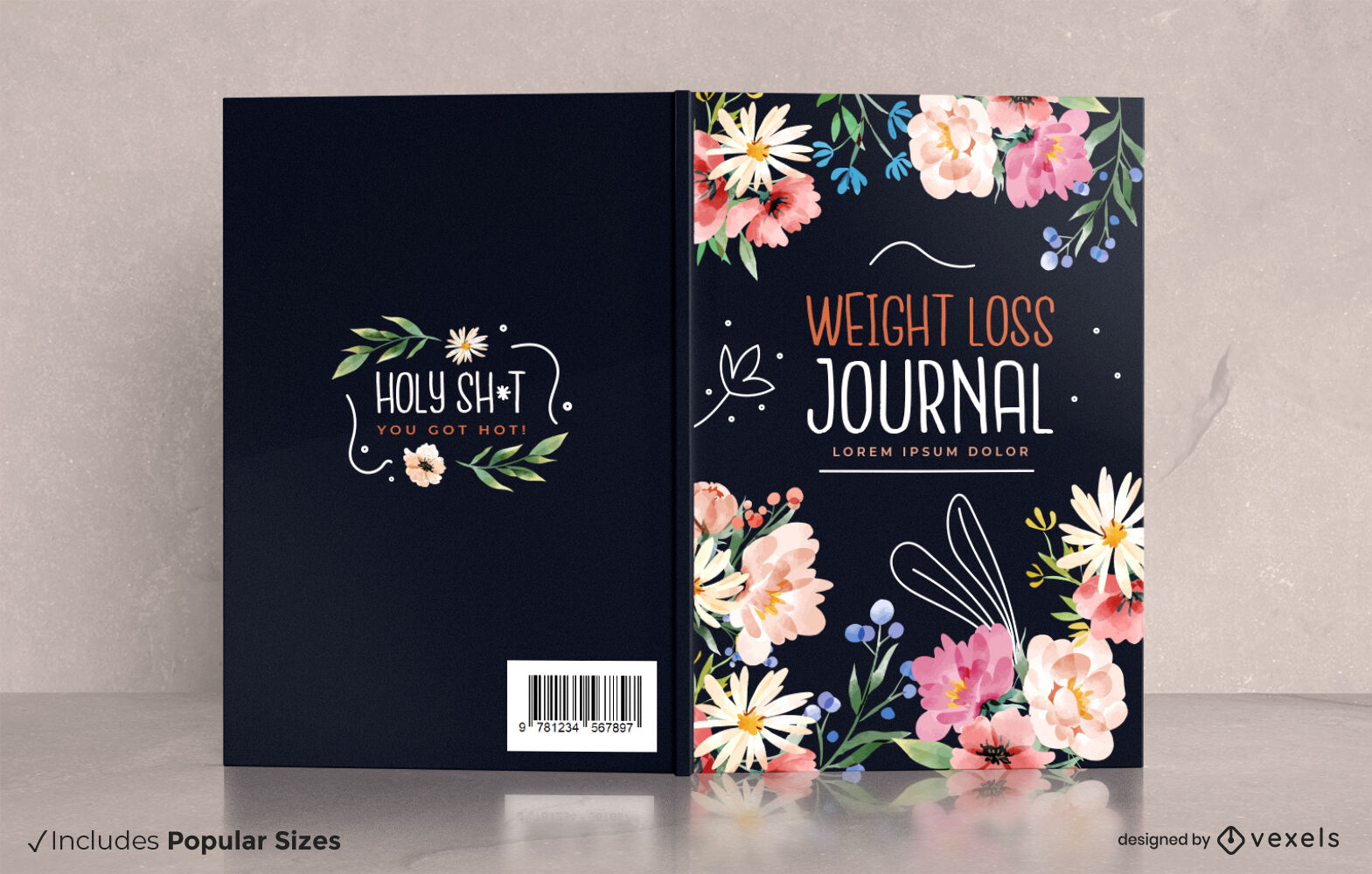 Weight loss floral journal cover design