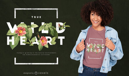 Diseño de camiseta psd de flores de corazón salvaje