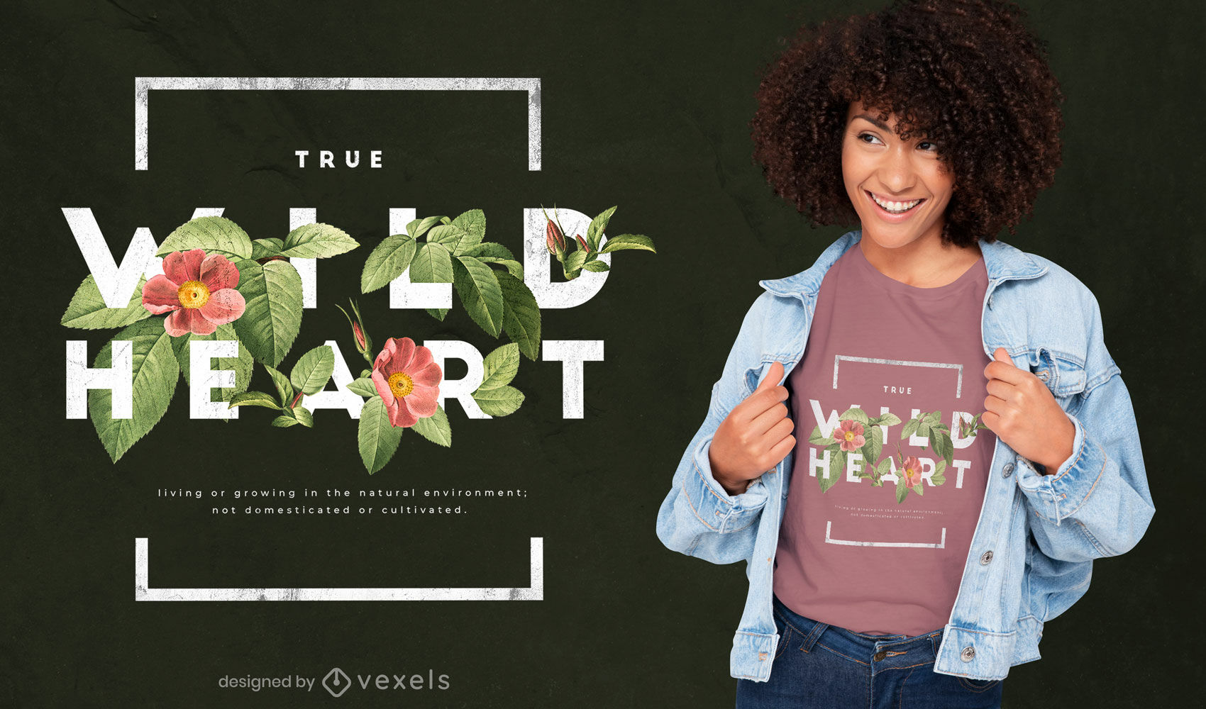 Design de t-shirt psd com flores de coração selvagem