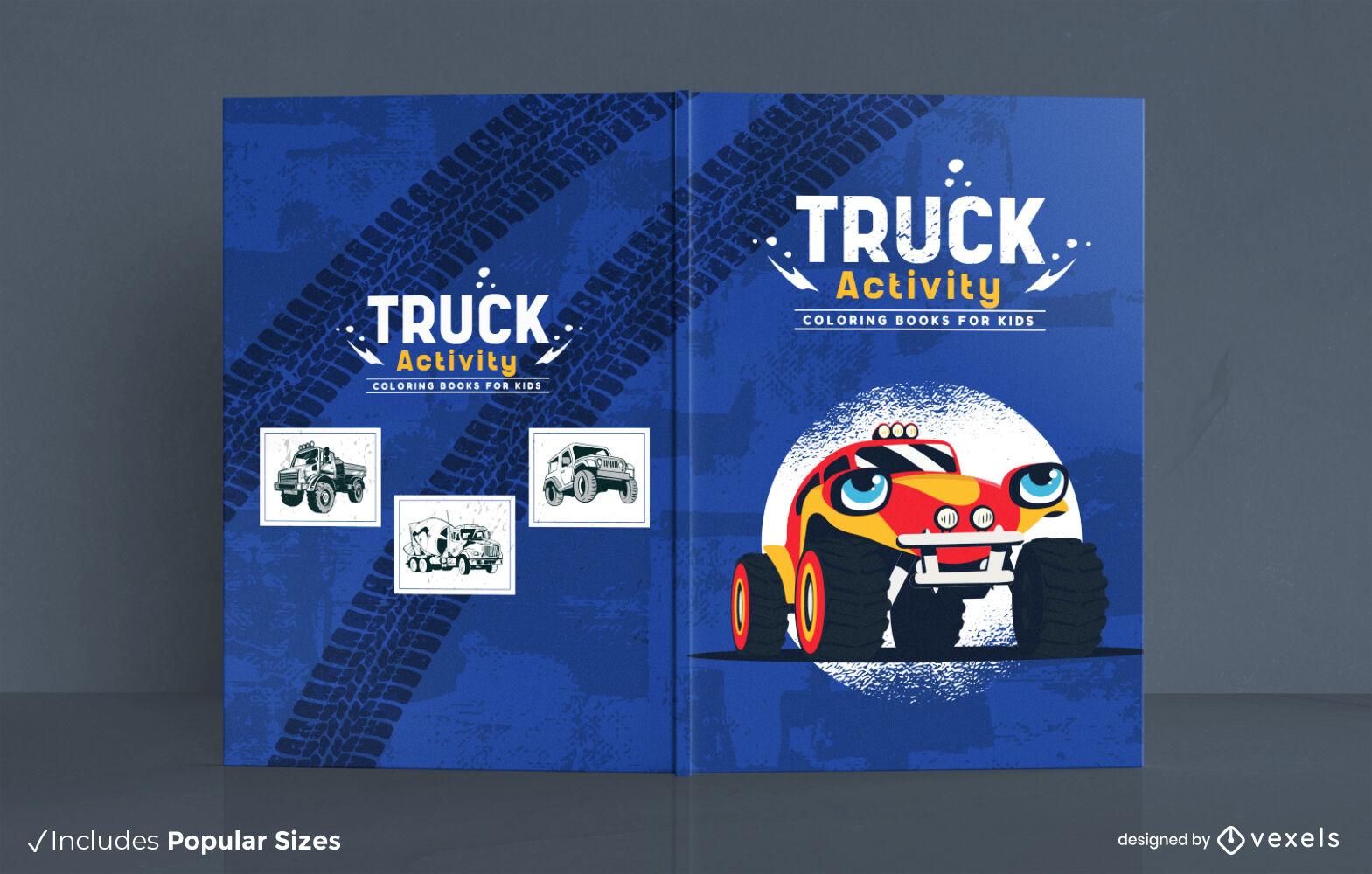 Dise?o de libro de actividades de dibujos animados de monster truck