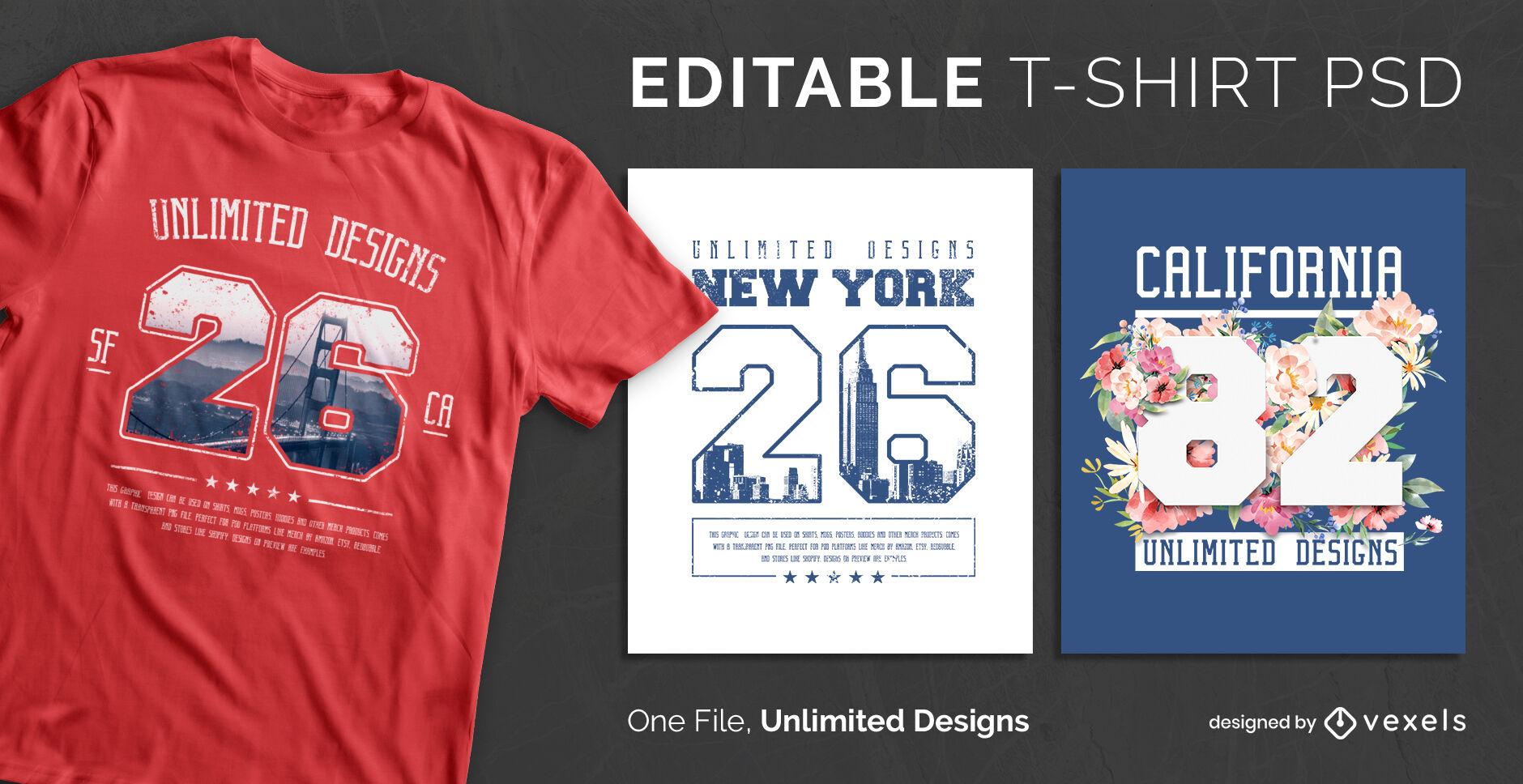Design de t-shirt psd escalonável estilo jérsei universitário