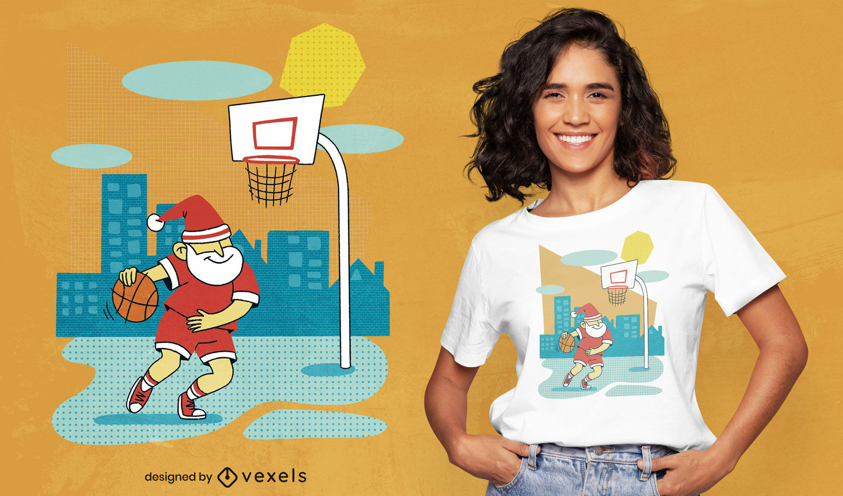 Papai Noel jogando basquete com design de camiseta psd