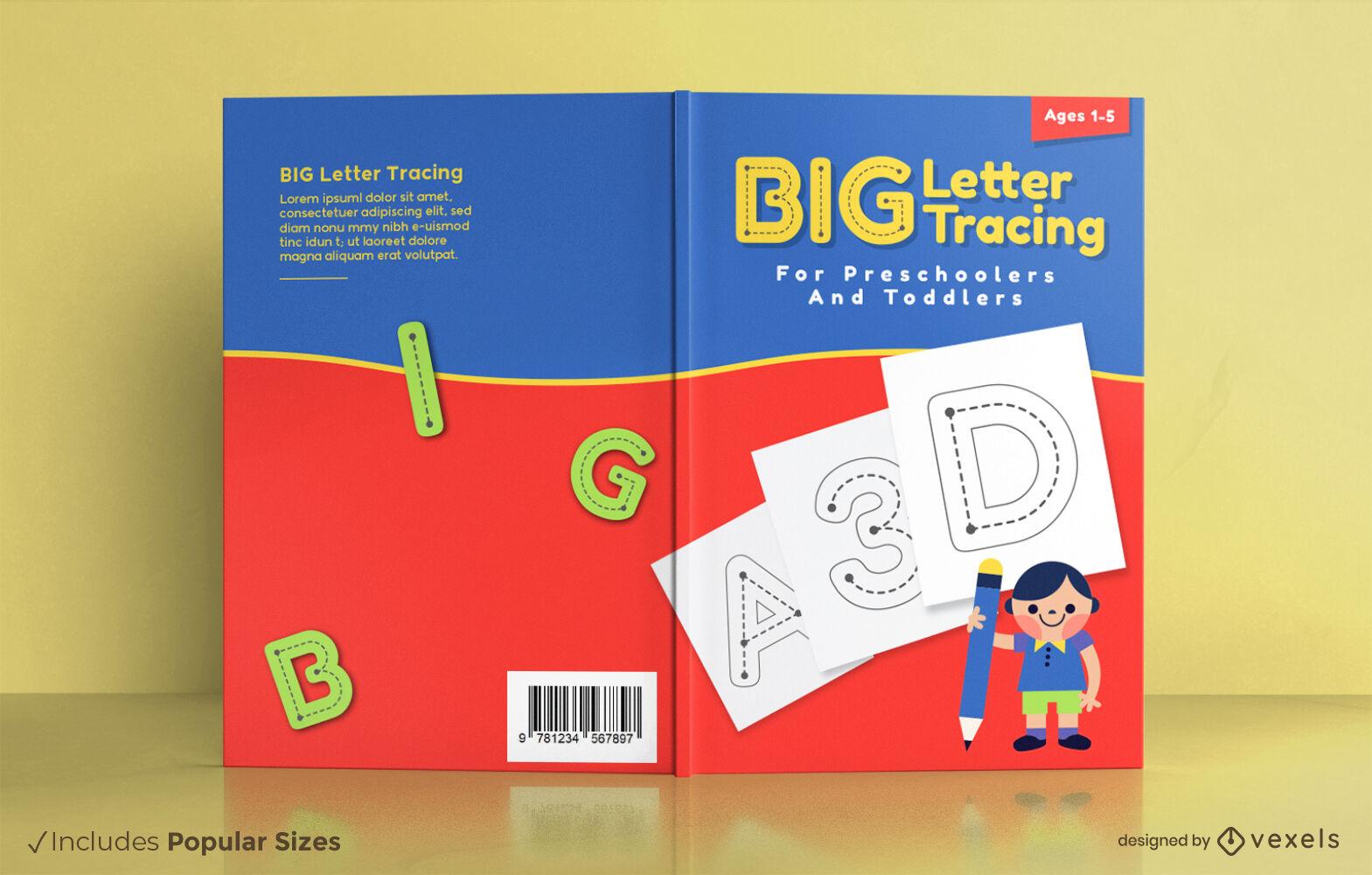 Libro de rastreo de letras para niños diseño de portada.