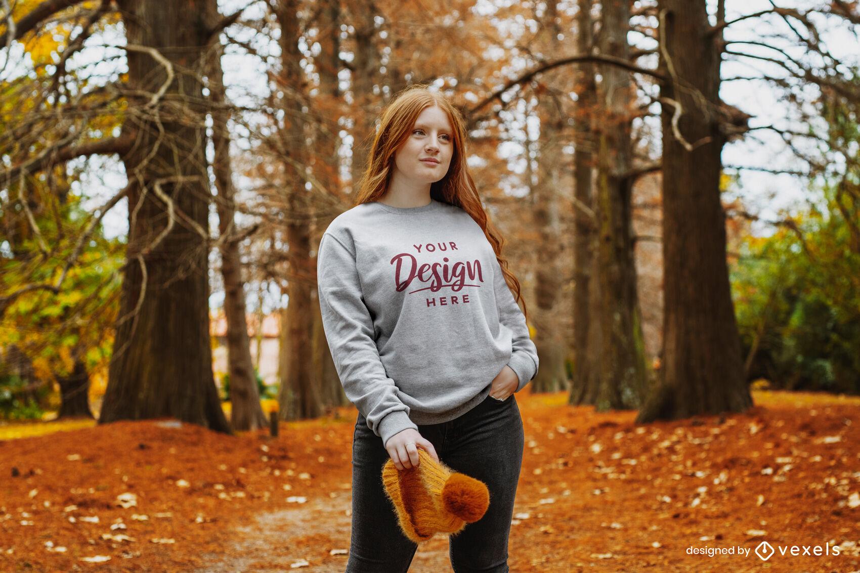 Autumn redhead girl sweatshirt mockup