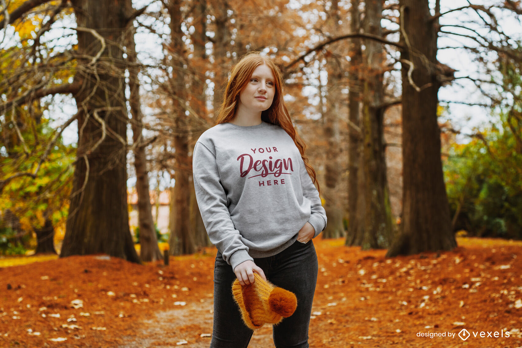 Herbst rothaarige Mädchen Sweatshirt Mockup