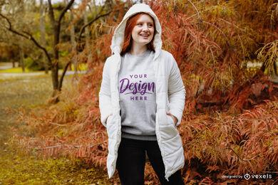 Redhead fall sweatshirt in forest mockup