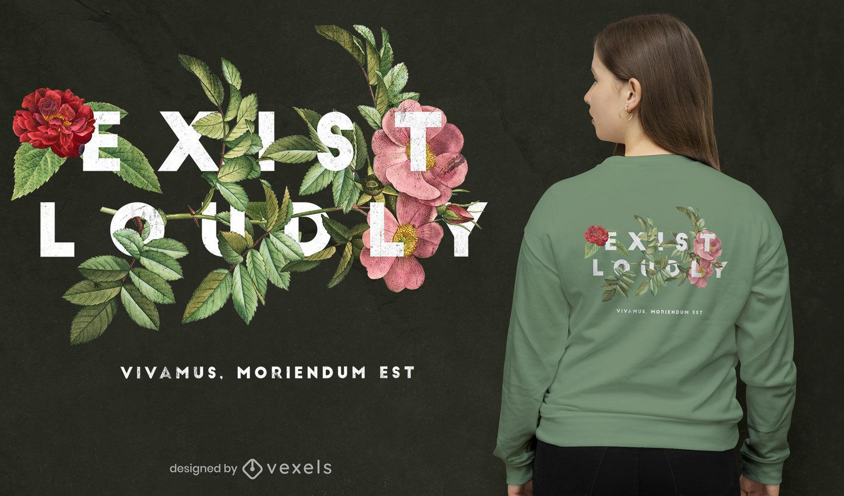 Diseño de camiseta psd de flores en voz alta
