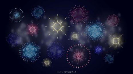 Papel de parede de fogos de artifício do céu noturno