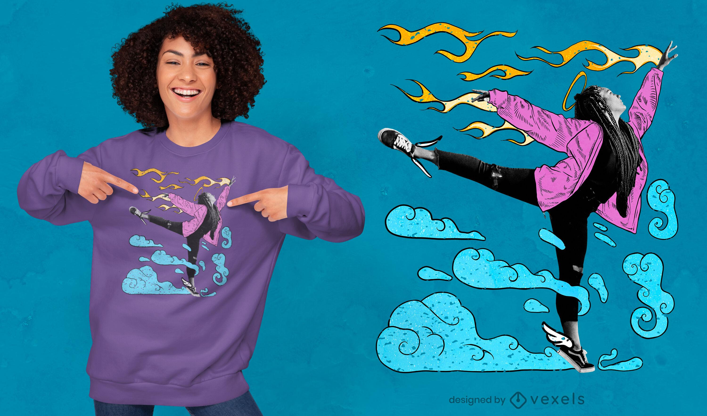 Desenho de t-shirt psd com colagem desenhada para dançarinas