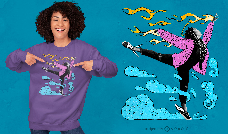 Diseño de camiseta psd collage dibujado chica bailando