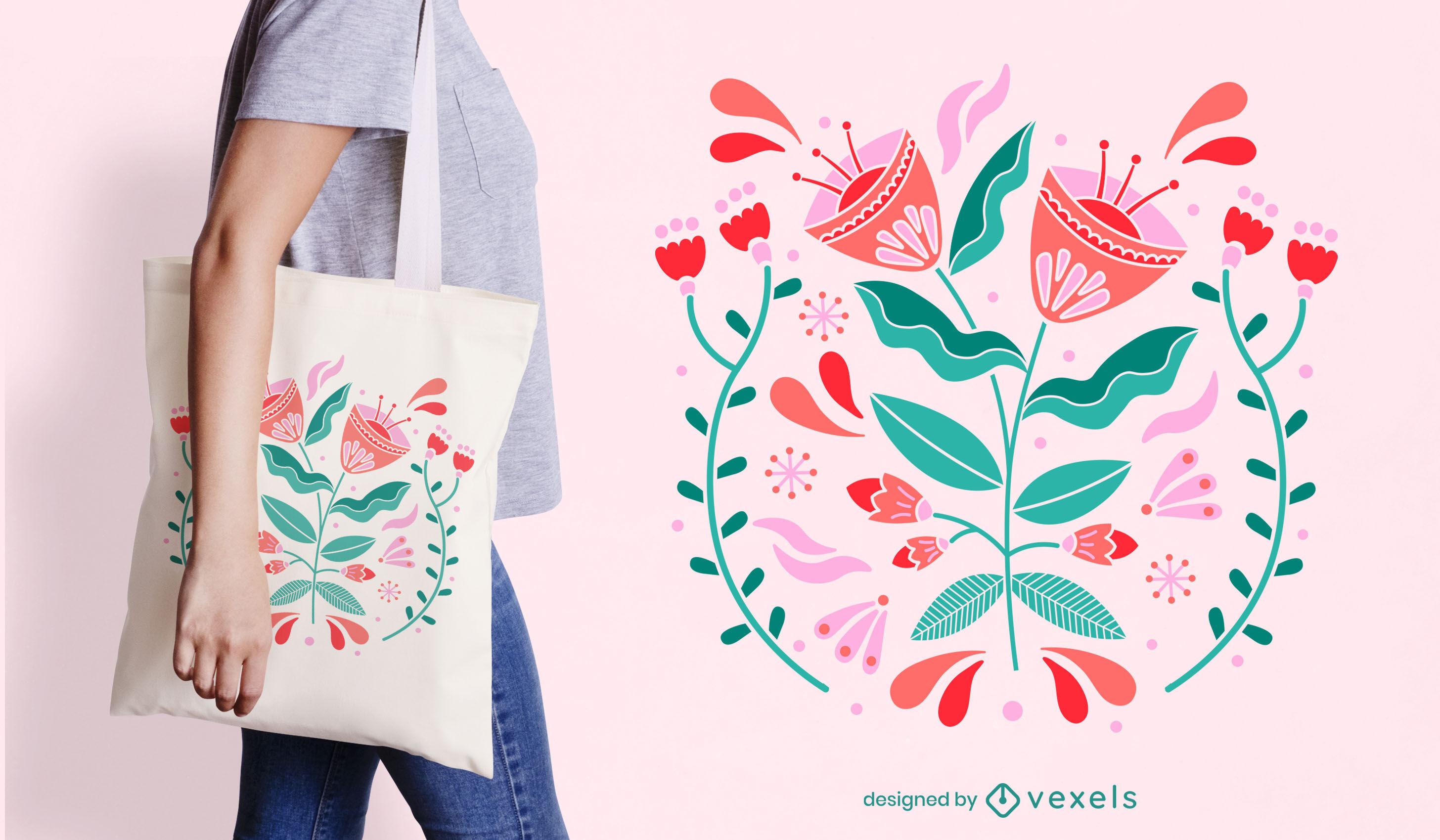 Design de sacola com flores recortadas em cor botânica