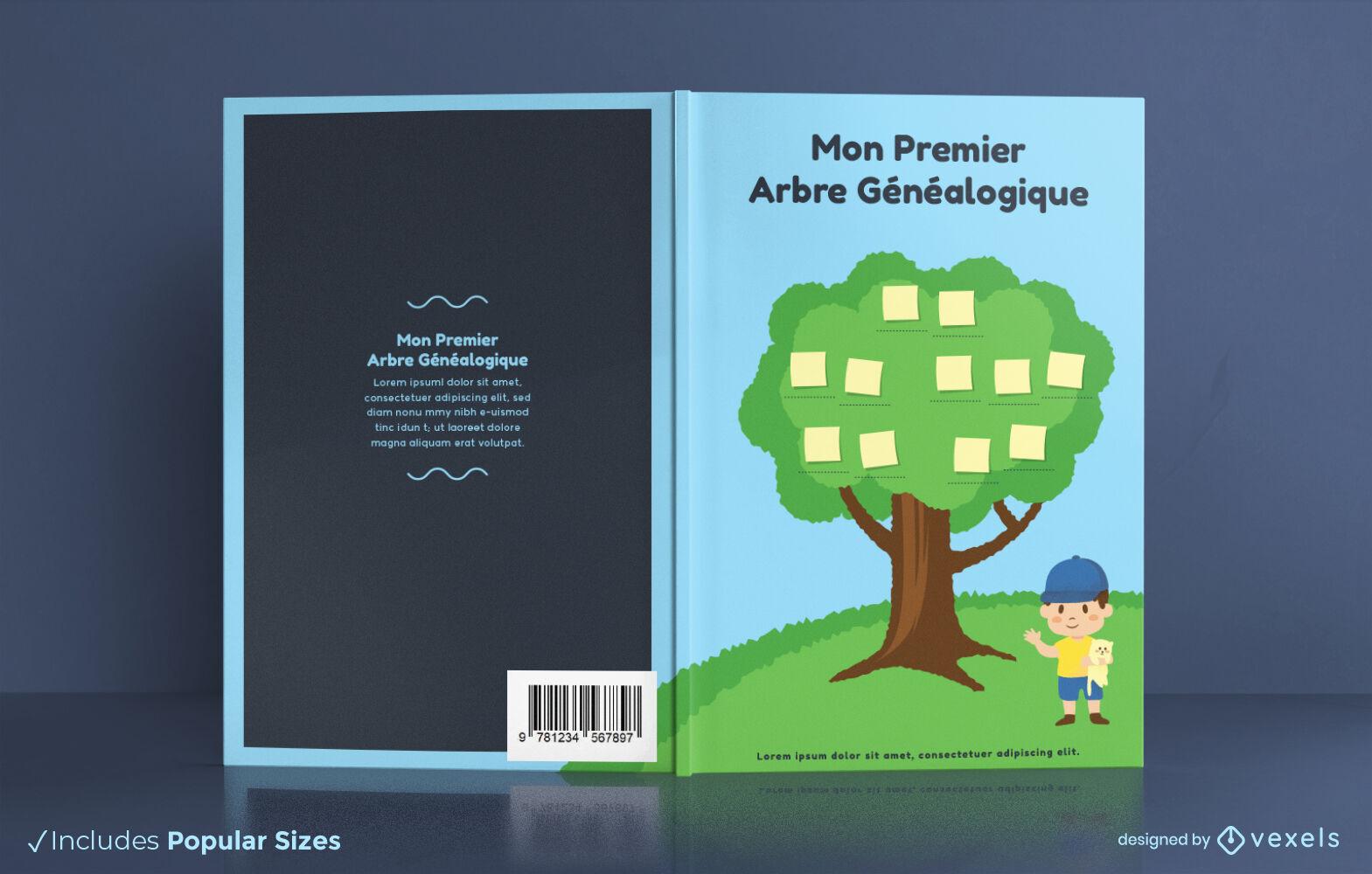 Diseño de portada de libro francés de árbol genealógico