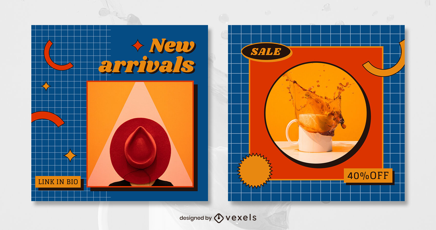 Retro colorful style post template