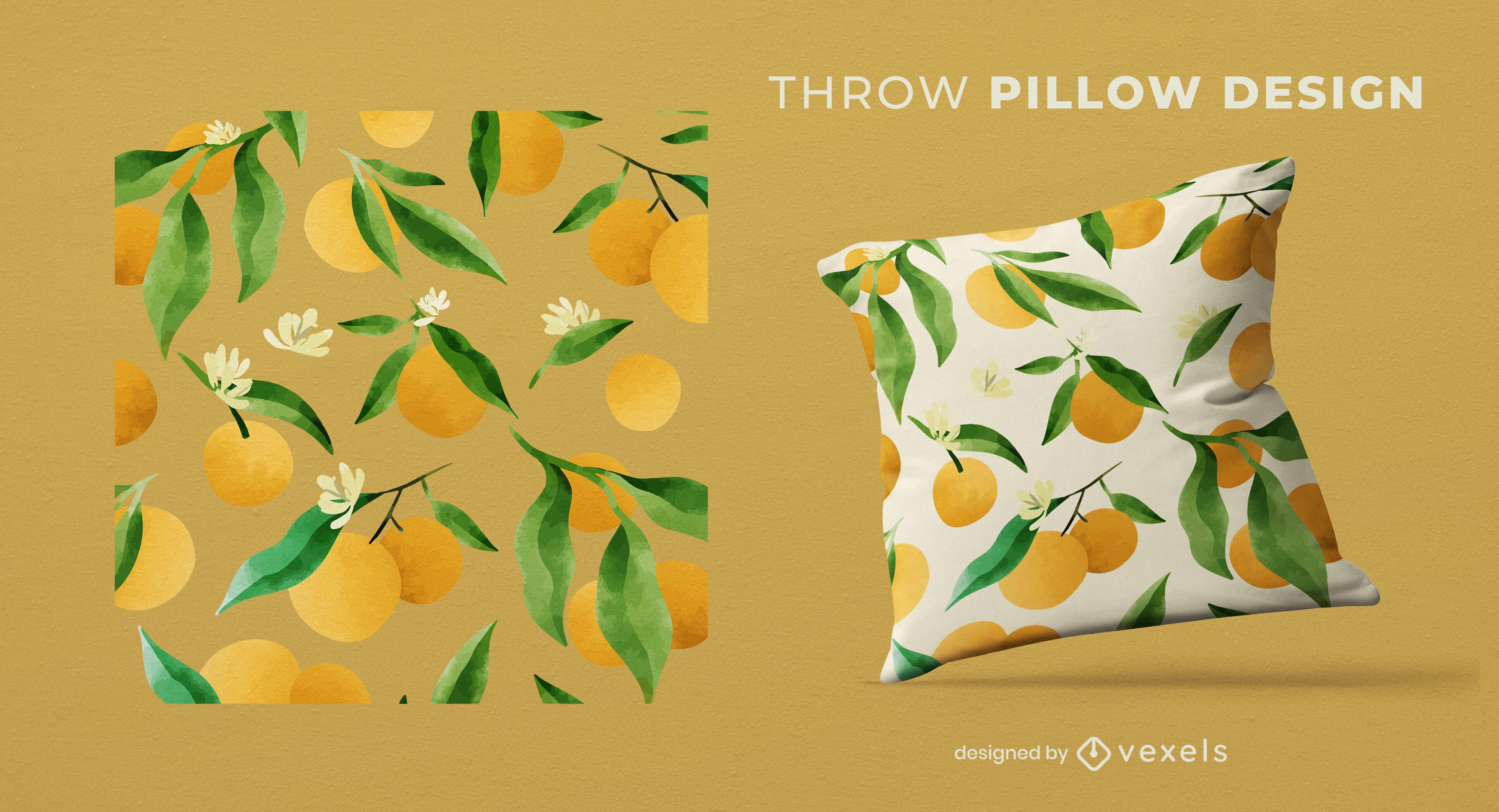 Diseño de almohada de patrón de naranjas de acuarela
