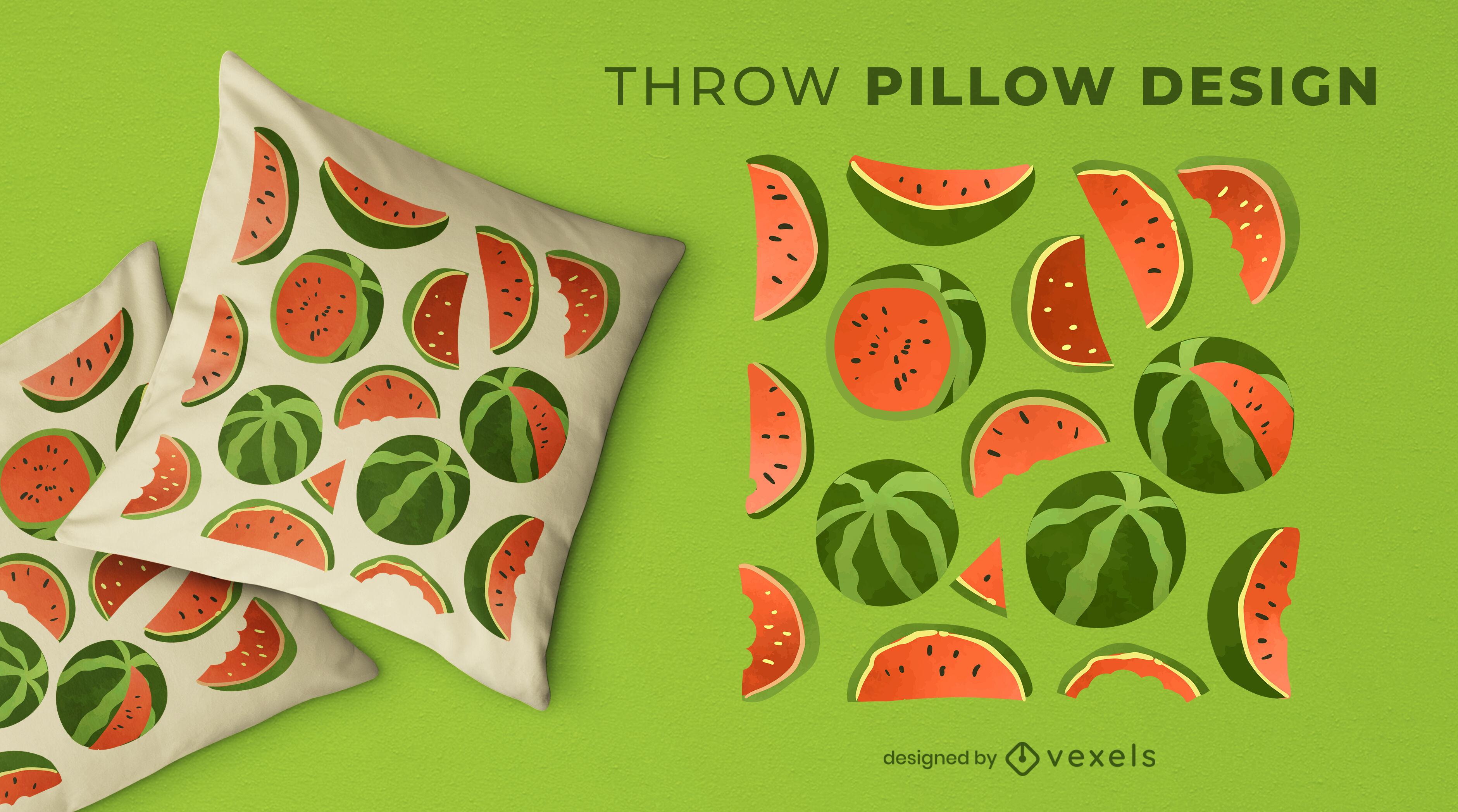 Diseño de almohada con patrón de sandía en acuarela